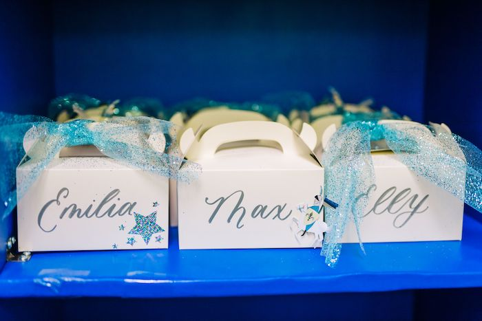 Personalized Gable Favor Boxes from a Modern Frozen Birthday Party on Kara's Party Ideas | KarasPartyIdeas.com (14)