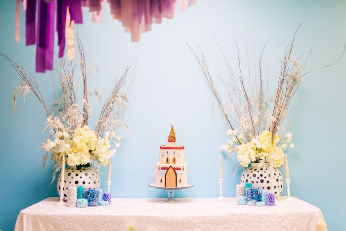 Frozen-inspired Cake Table from a Modern Frozen Birthday Party on Kara's Party Ideas | KarasPartyIdeas.com (13)