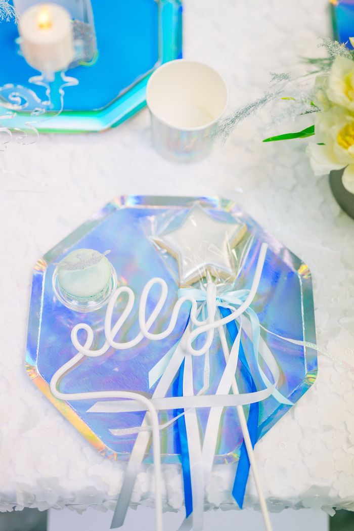 Personalized Iridescent Frozen-inspired Table Setting from a Modern Frozen Birthday Party on Kara's Party Ideas | KarasPartyIdeas.com (12)