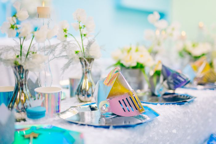 Knight Table Setting from a Modern Frozen Birthday Party on Kara's Party Ideas | KarasPartyIdeas.com (5)