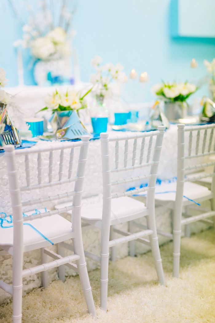 Mini White Chivari Chairs from a Modern Frozen Birthday Party on Kara's Party Ideas | KarasPartyIdeas.com (38)