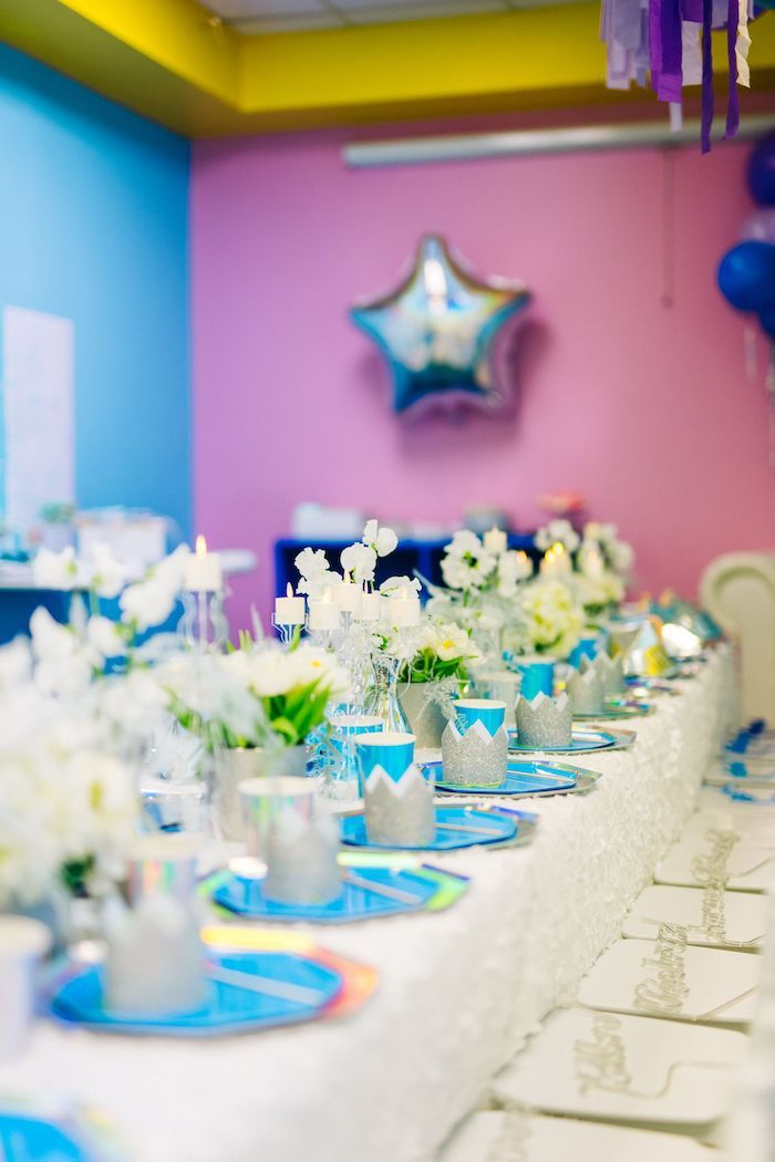 Frozen Themed Table Setting from a Modern Frozen Birthday Party on Kara's Party Ideas | KarasPartyIdeas.com (36)