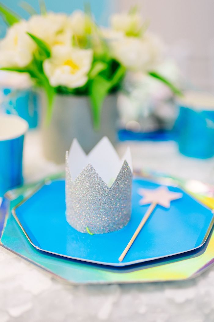 Iridescent Princess Themed Table Setting from a Modern Frozen Birthday Party on Kara's Party Ideas | KarasPartyIdeas.com (35)