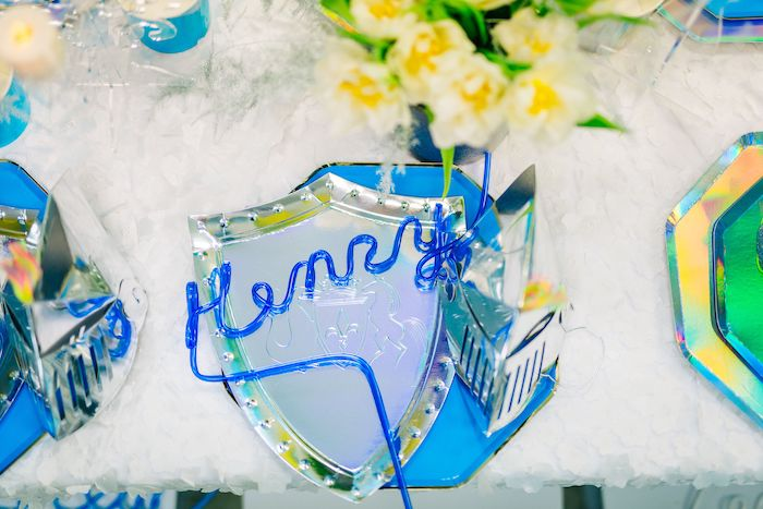 Personalized Krazy Straw + Knight Themed Table Setting from aModern Frozen Birthday Party on Kara's Party Ideas | KarasPartyIdeas.com (33)