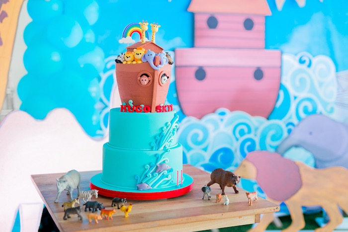 Noah's Ark Cake from a Noah's Ark Birthday Party on Kara's Party Ideas | KarasPartyIdeas.com (17)