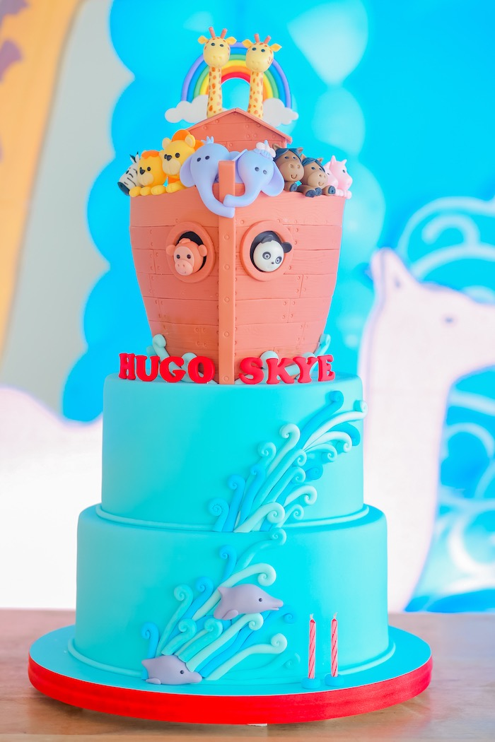 Noah's Ark Cake from a Noah's Ark Birthday Party on Kara's Party Ideas | KarasPartyIdeas.com (8)