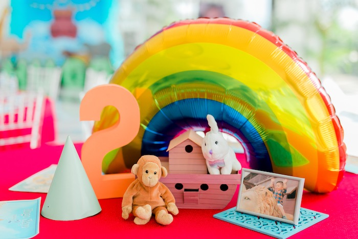 Noah's Ark Themed Guest Table + Centerpieces from a Noah's Ark Birthday Party on Kara's Party Ideas | KarasPartyIdeas.com (25)
