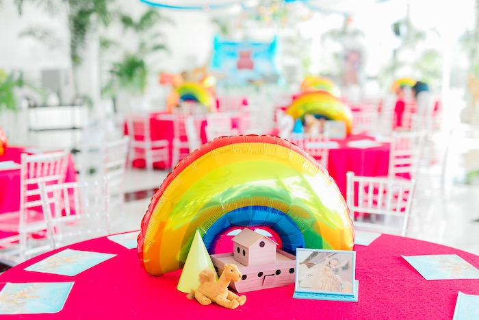 Noah's Ark Themed Guest Table + Centerpieces from a Noah's Ark Birthday Party on Kara's Party Ideas | KarasPartyIdeas.com (24)
