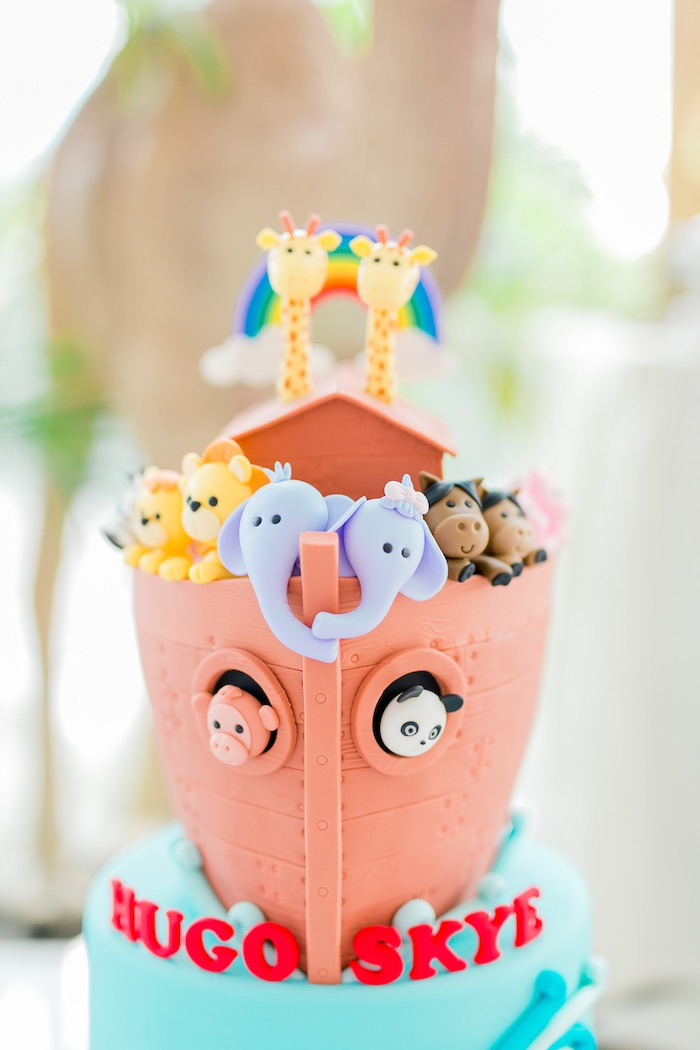 Noah's Ark Cake from a Noah's Ark Birthday Party on Kara's Party Ideas | KarasPartyIdeas.com (21)