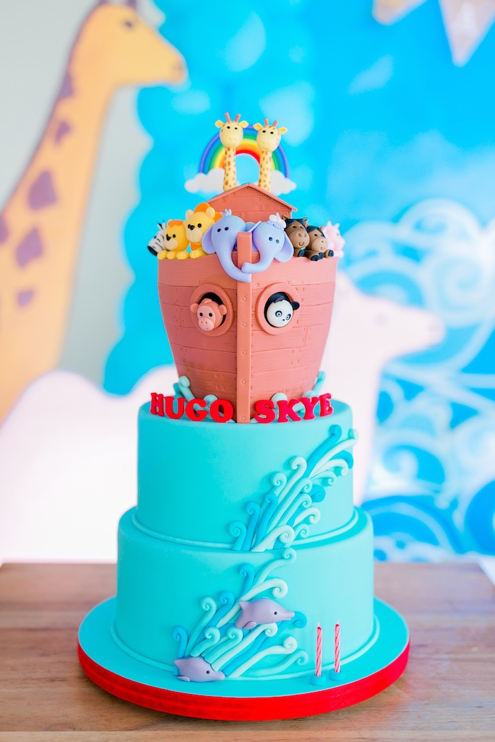 Noah's Ark Cake from a Noah's Ark Birthday Party on Kara's Party Ideas | KarasPartyIdeas.com (20)