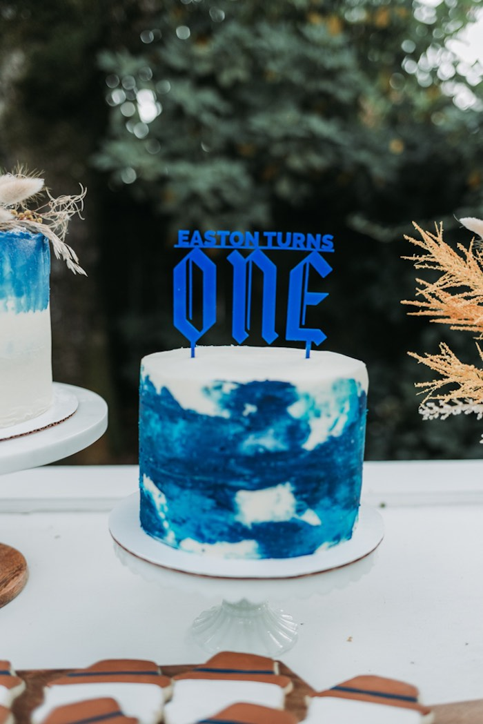 Blue Watercolor Cake from an Oktoberfest Inspired 1st Birthday Party on Kara's Party Ideas | KarasPartyIdeas.com (30)