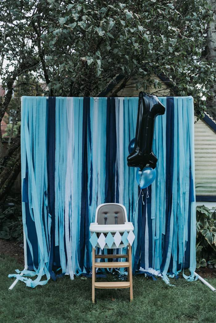 Blue + White + Black Photo Booth from an Oktoberfest Inspired 1st Birthday Party on Kara's Party Ideas | KarasPartyIdeas.com (26)