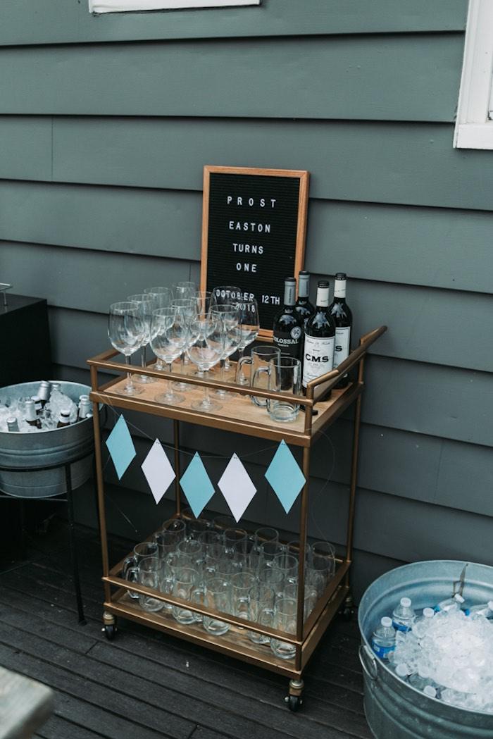 Drink Bar from an Oktoberfest Inspired 1st Birthday Party on Kara's Party Ideas | KarasPartyIdeas.com (22)