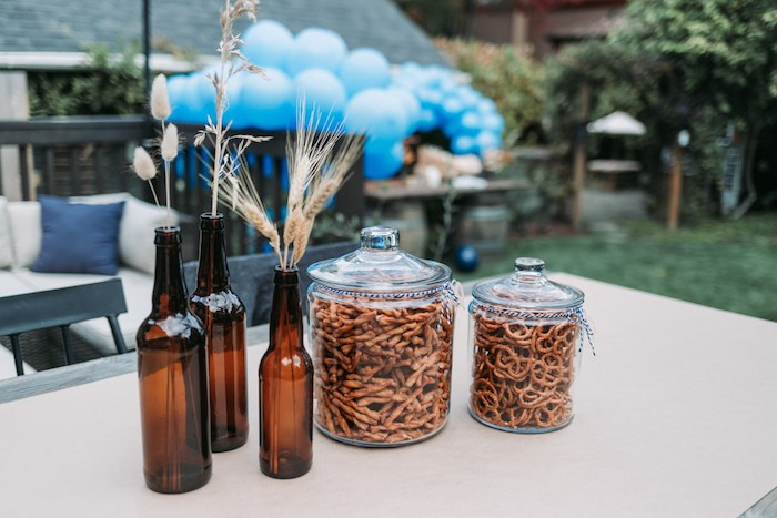 Pretzels and Wheat + Bottle Centerpieces from an Oktoberfest Inspired 1st Birthday Party on Kara's Party Ideas | KarasPartyIdeas.com (20)