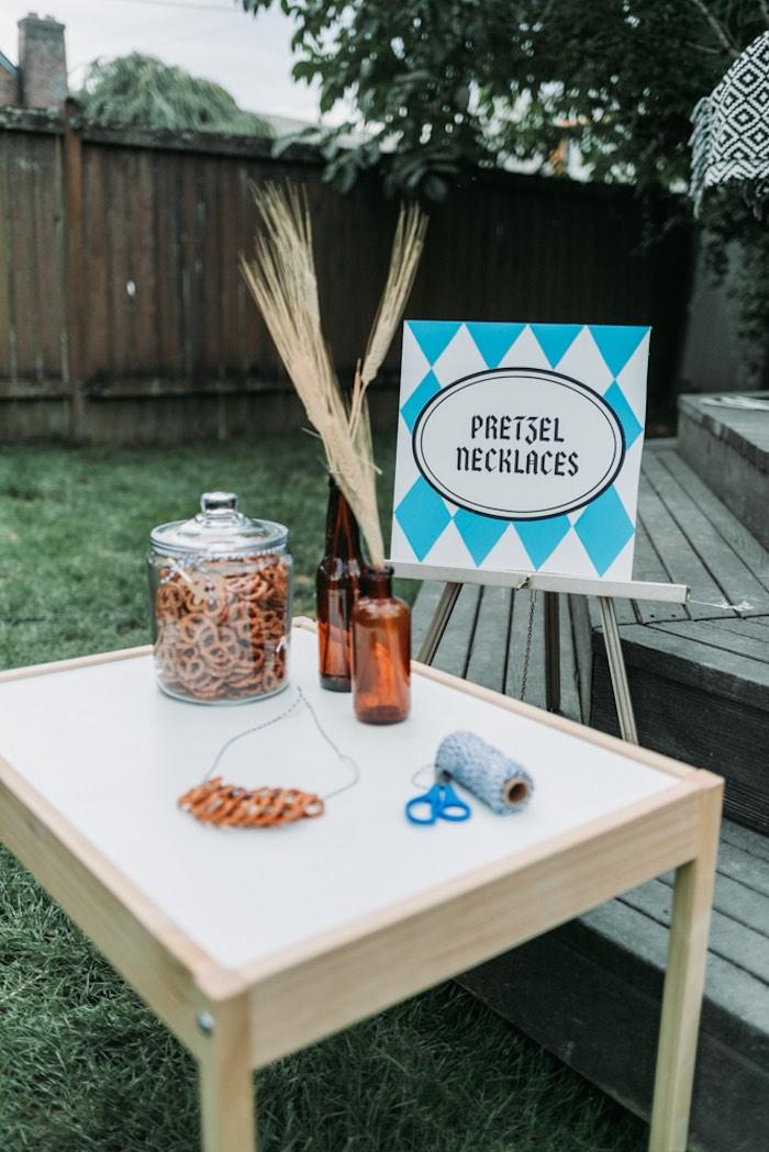 Pretzel Necklace Crafting Station from an Oktoberfest Inspired 1st Birthday Party on Kara's Party Ideas | KarasPartyIdeas.com (19)