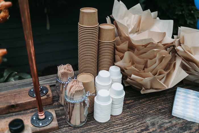 Rustic Brown Partyware from an Oktoberfest Inspired 1st Birthday Party on Kara's Party Ideas | KarasPartyIdeas.com (16)