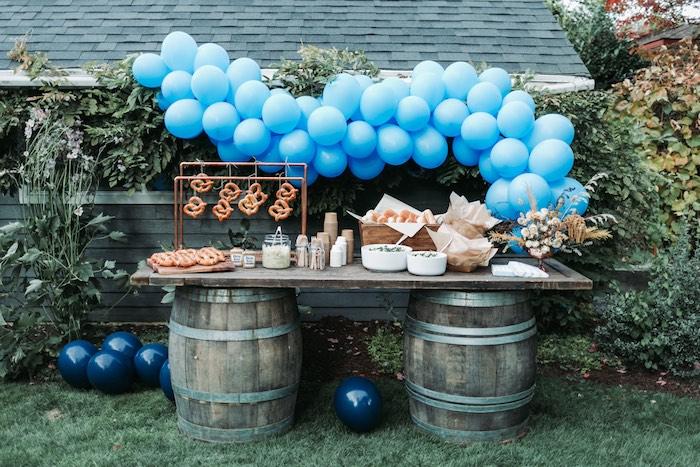 Barrel Table Pretzel Bar from an Oktoberfest Inspired 1st Birthday Party on Kara's Party Ideas | KarasPartyIdeas.com (13)
