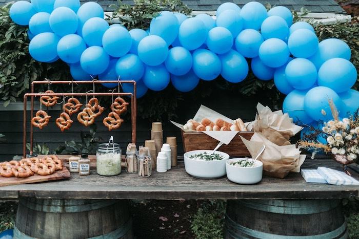 Food Table + Pretzel Bar from an Oktoberfest Inspired 1st Birthday Party on Kara's Party Ideas | KarasPartyIdeas.com (9)