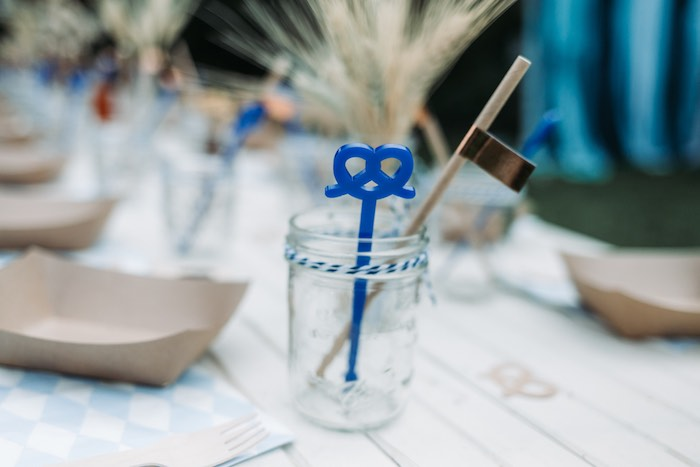 Mason Jar Cup tied with Twine from an Oktoberfest Inspired 1st Birthday Party on Kara's Party Ideas | KarasPartyIdeas.com (39)