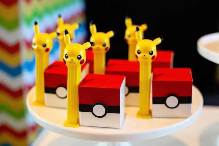 Pikachu Pez Dispensers + Pokeball Favor Boxes from a Pokemon Birthday Party on Kara's Party Ideas | KarasPartyIdeas.com (14)