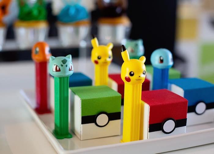 Pokemon Pez Dispensers + Mini Pokeball Favor Boxes from a Pokemon Birthday Party on Kara's Party Ideas | KarasPartyIdeas.com (13)