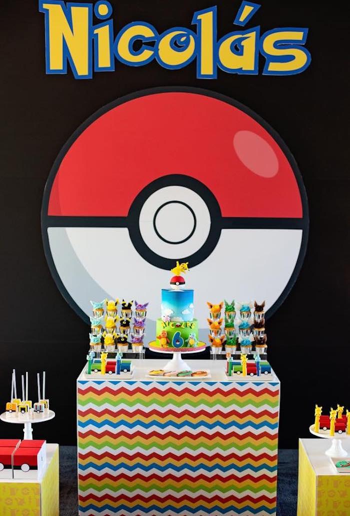 Pokemon Themed Party Table from a Pokemon Birthday Party on Kara's Party Ideas | KarasPartyIdeas.com (9)