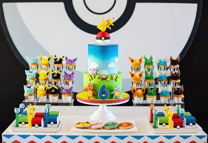 Pokemon Themed Dessert Table from a Pokemon Birthday Party on Kara's Party Ideas | KarasPartyIdeas.com (6)