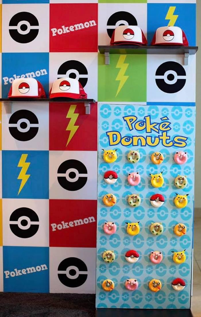 Pokemon Donuts + Hats from a Pokemon Birthday Party on Kara's Party Ideas | KarasPartyIdeas.com (21)