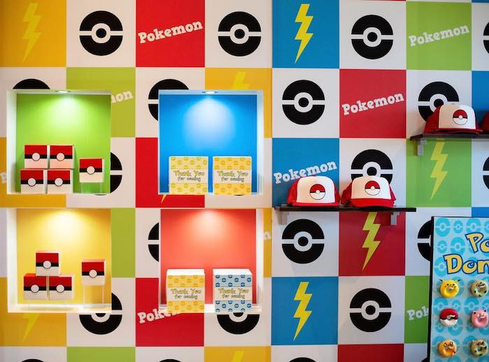 Shadowbox Favor Shelf Pokemon Backdrop from a Pokemon Birthday Party on Kara's Party Ideas | KarasPartyIdeas.com (18)