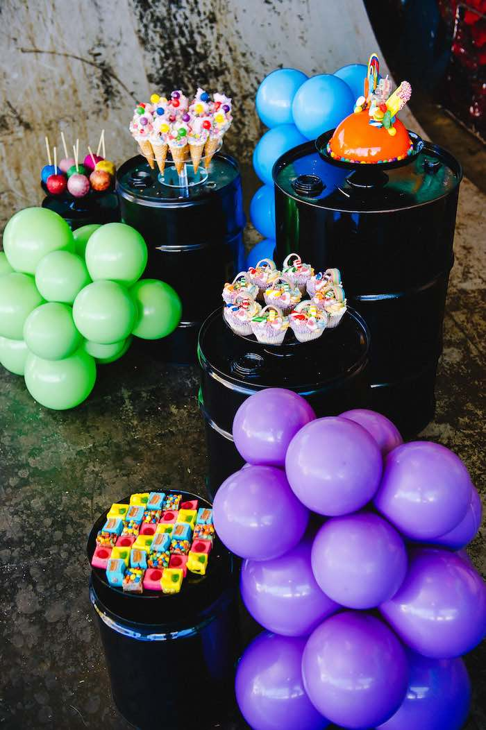 Barrel and Balloon Dessert Spread from a Rainbow Urban Art Birthday Party on Kara's Party Ideas | KarasPartyIdeas.com (25)