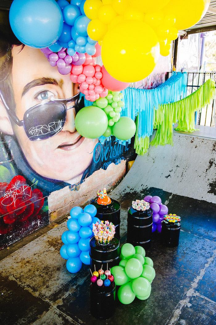 Barrel and Balloon Dessert Spread from a Rainbow Urban Art Birthday Party on Kara's Party Ideas | KarasPartyIdeas.com (24)