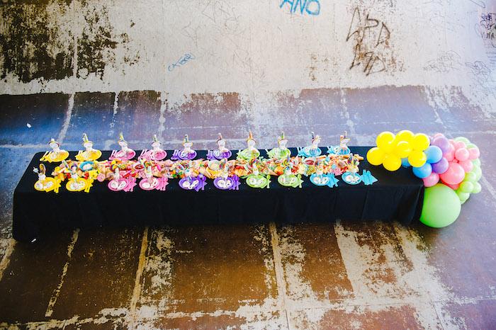 Rainbow Themed Guest Table from a Rainbow Urban Art Birthday Party on Kara's Party Ideas | KarasPartyIdeas.com (23)