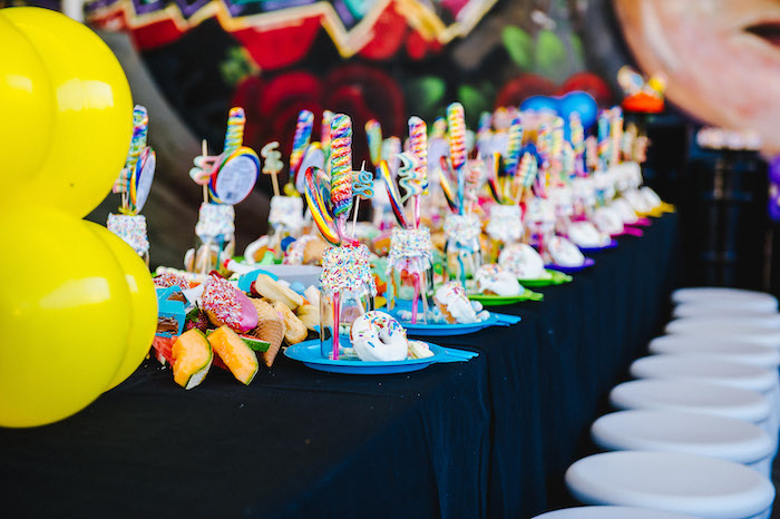Candy-filled Rainbow Table Setting + Guest Tablescape from aRainbow Urban Art Birthday Party on Kara's Party Ideas | KarasPartyIdeas.com (19)