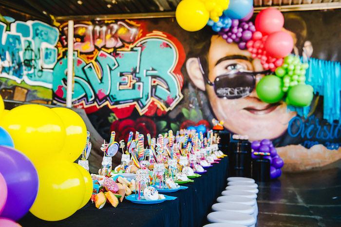 Guest Table from a Rainbow Urban Art Birthday Party on Kara's Party Ideas | KarasPartyIdeas.com (18)