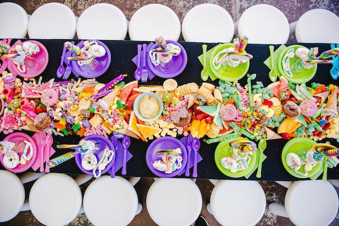 Rainbow Table Settings + Candy Grazing Bar from a Rainbow Urban Art Birthday Party on Kara's Party Ideas | KarasPartyIdeas.com (17)
