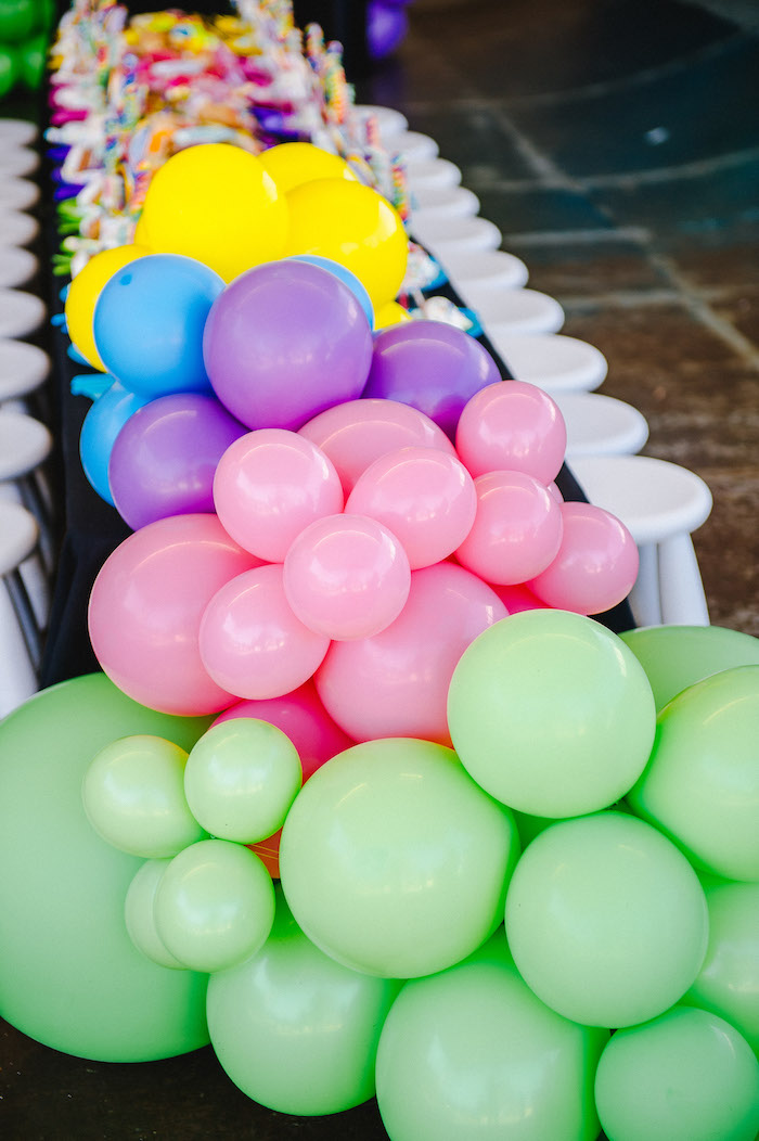 Rainbow Balloon Installation from a Rainbow Urban Art Birthday Party on Kara's Party Ideas | KarasPartyIdeas.com (16)