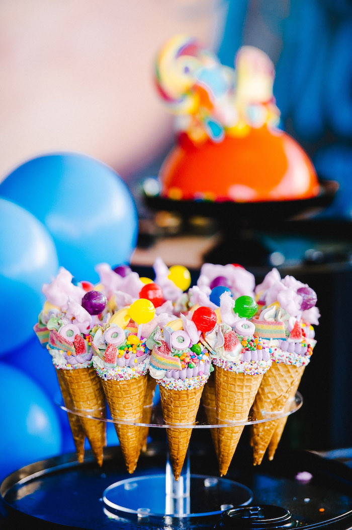 Ice-cream cake cones covered in bright lollies from a Rainbow Urban Art Birthday Party on Kara's Party Ideas | KarasPartyIdeas.com (34)