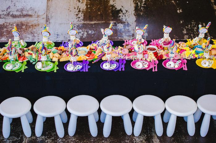 Rainbow Guest Table from a Rainbow Urban Art Birthday Party on Kara's Party Ideas | KarasPartyIdeas.com (9)