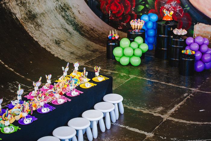 Rainbow Guest Table from a Rainbow Urban Art Birthday Party on Kara's Party Ideas | KarasPartyIdeas.com (8)