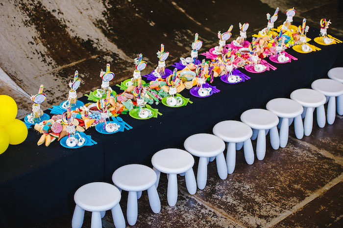 Rainbow Guest Table from a Rainbow Urban Art Birthday Party on Kara's Party Ideas | KarasPartyIdeas.com (7)