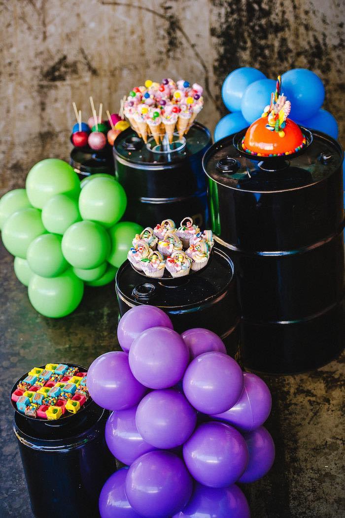 Barrel and Balloon Dessert Spread from a Rainbow Urban Art Birthday Party on Kara's Party Ideas | KarasPartyIdeas.com (6)