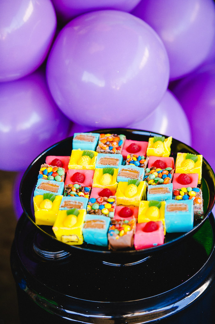 Colorful fudge topped with candies from a Rainbow Urban Art Birthday Party on Kara's Party Ideas | KarasPartyIdeas.com (33)