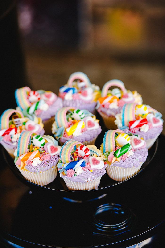Candy Cupcakes from a Rainbow Urban Art Birthday Party on Kara's Party Ideas | KarasPartyIdeas.com (32)