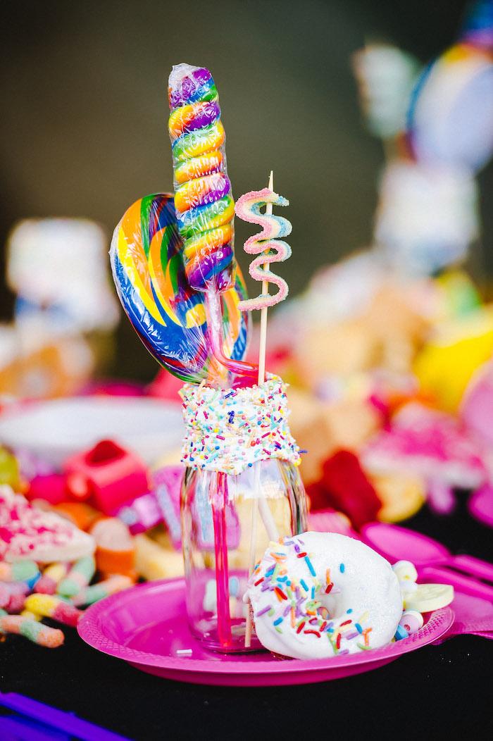 Rainbow Sprinkle Candy Table Setting from a Rainbow Urban Art Birthday Party on Kara's Party Ideas | KarasPartyIdeas.com (29)