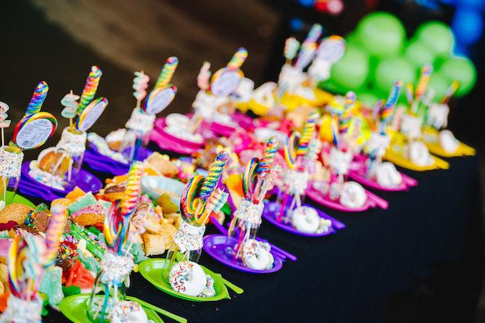 Rainbow Guest Table + Table Settings from a Rainbow Urban Art Birthday Party on Kara's Party Ideas | KarasPartyIdeas.com (28)