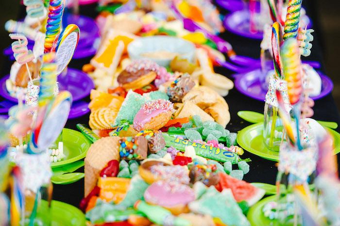Candy + Dessert Grazing Bar from a Rainbow Urban Art Birthday Party on Kara's Party Ideas | KarasPartyIdeas.com (27)