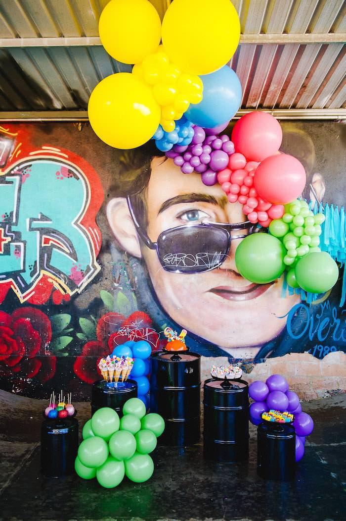 Rainbow Urban Art Birthday Party on Kara's Party Ideas | KarasPartyIdeas.com (26)