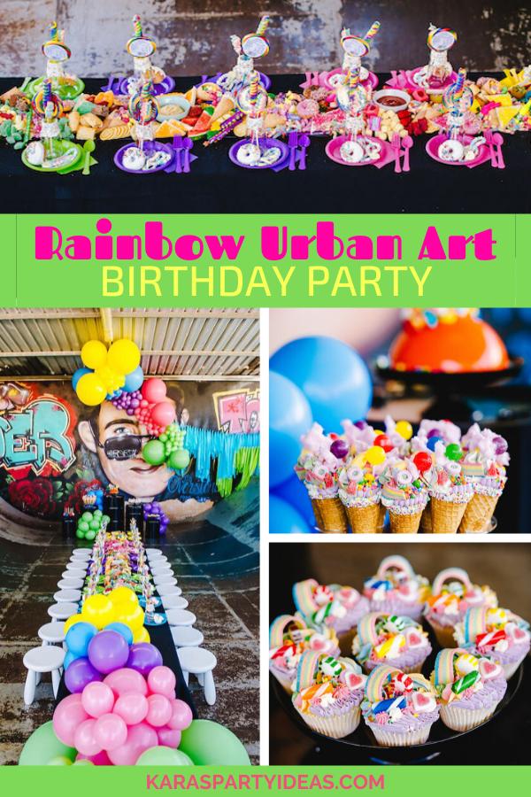 Rainbow Urban Art Birthday Party via Kara's Party Ideas - KarasPartyIdeas.com