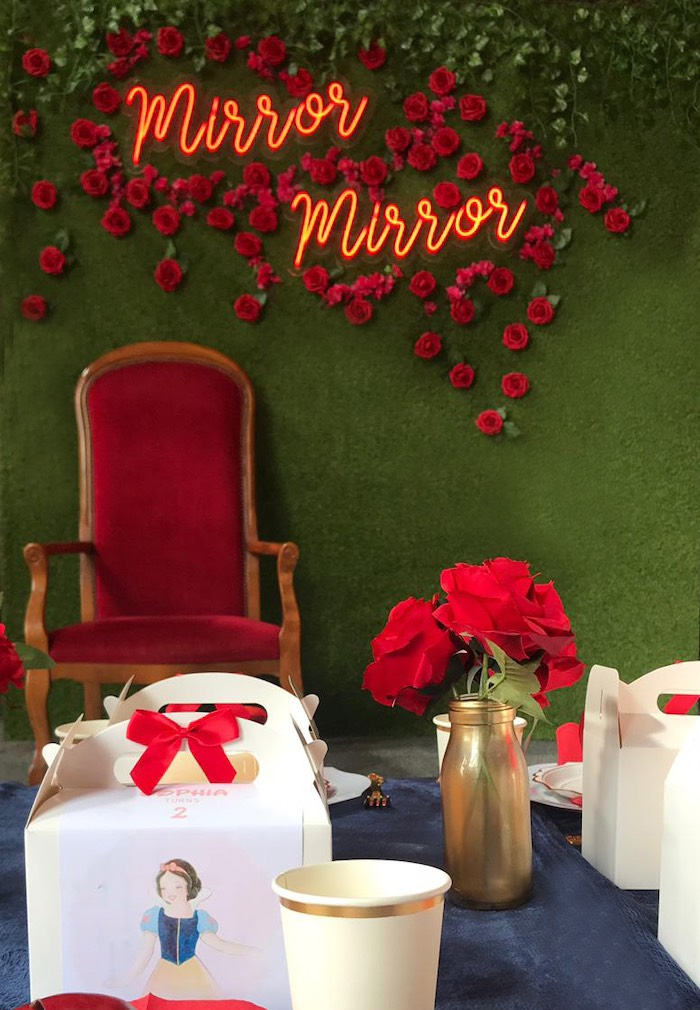 Red Rose Mirror Mirror Photo Booth from a Snow White Birthday Party on Kara's Party Ideas | KarasPartyIdeas.com (13)
