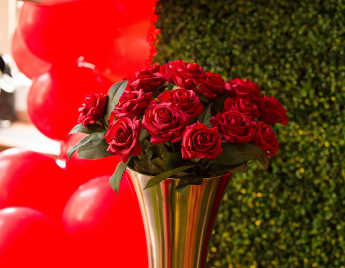 Red Rose Floral Arrangement from a Snow White Birthday Party on Kara's Party Ideas | KarasPartyIdeas.com (10)